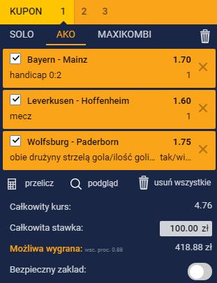 Kupon na Bundeslige 31.8