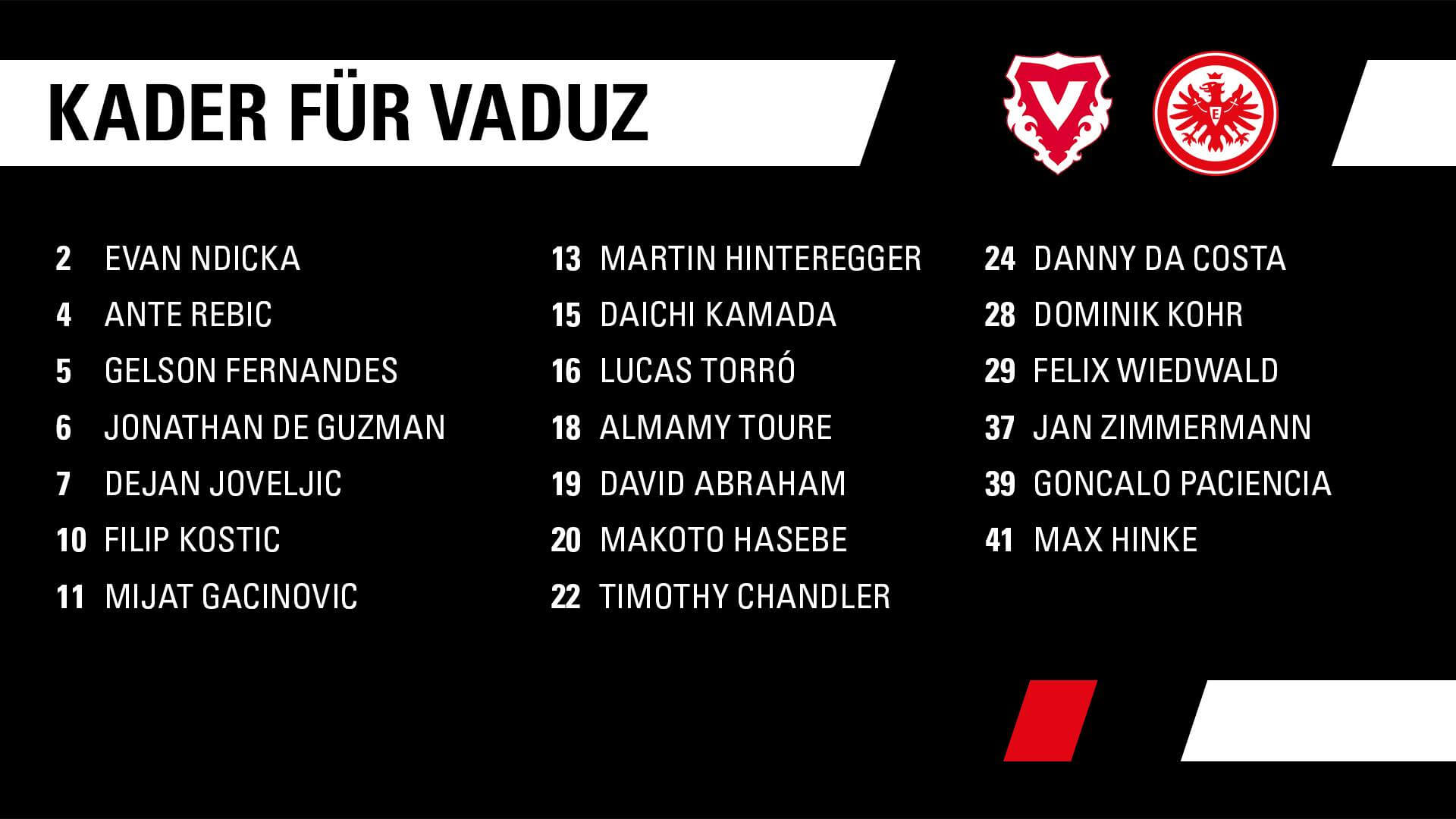 Eintracht Frankfurt vs Vaduz