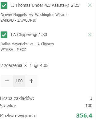 NBA kupon o 356 PLN