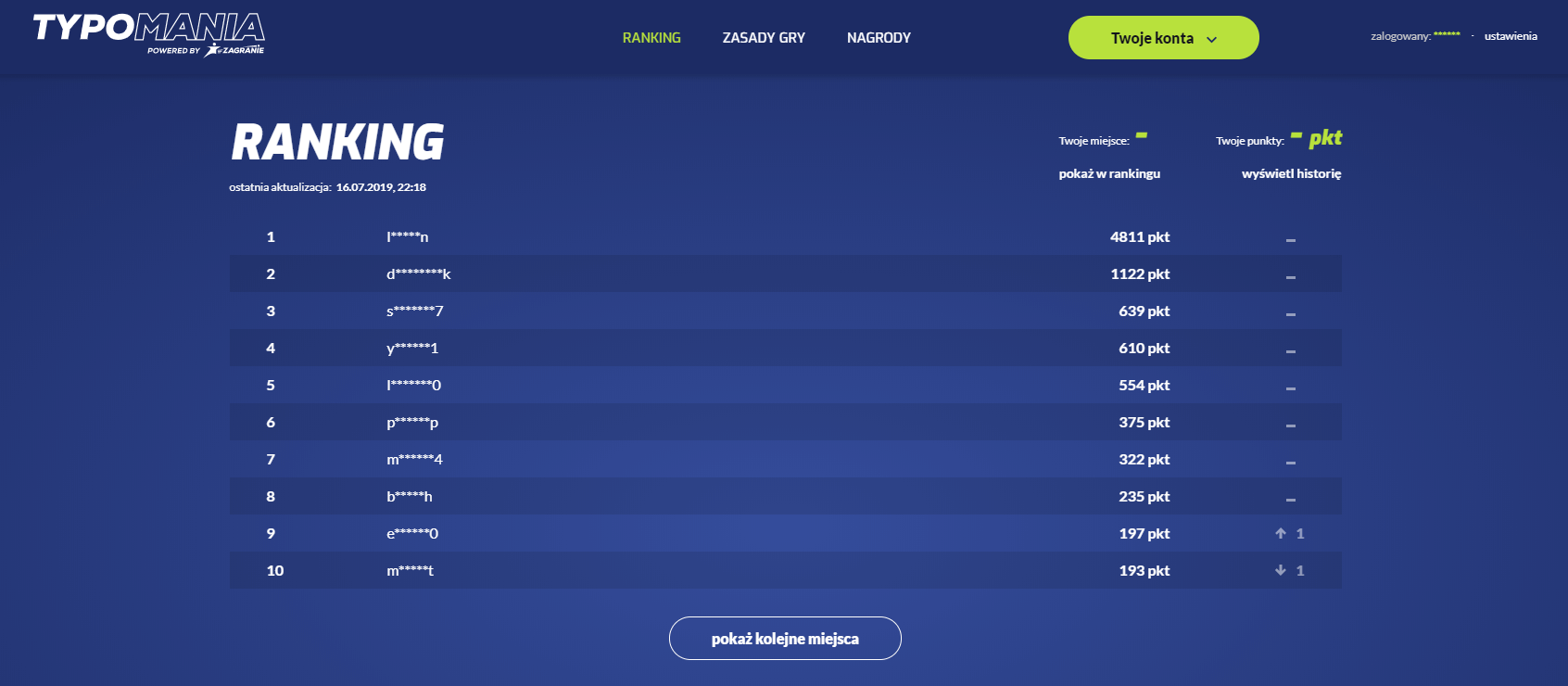 Ranking Typomanii w połowie lipca 2019