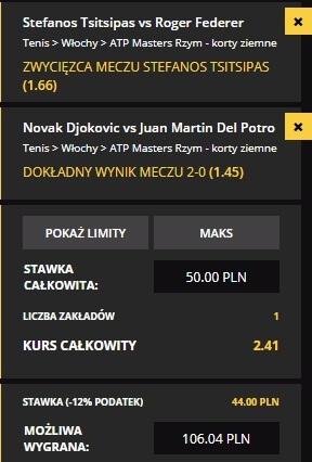 ATP Rzym - wygrana Tsitsipasa i Djokovica