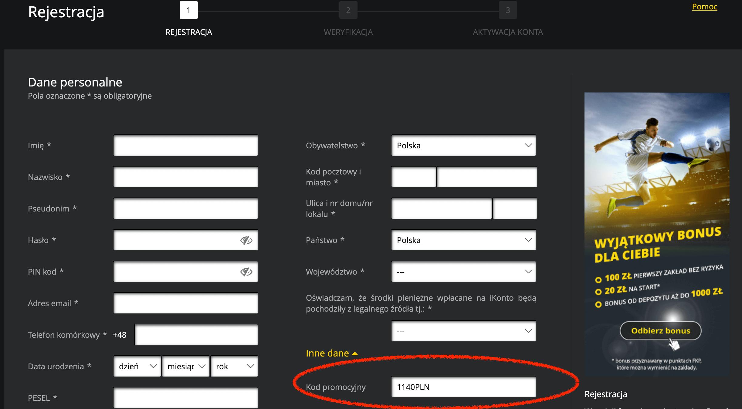 gdzie wpisać kod promocyjny fortuna