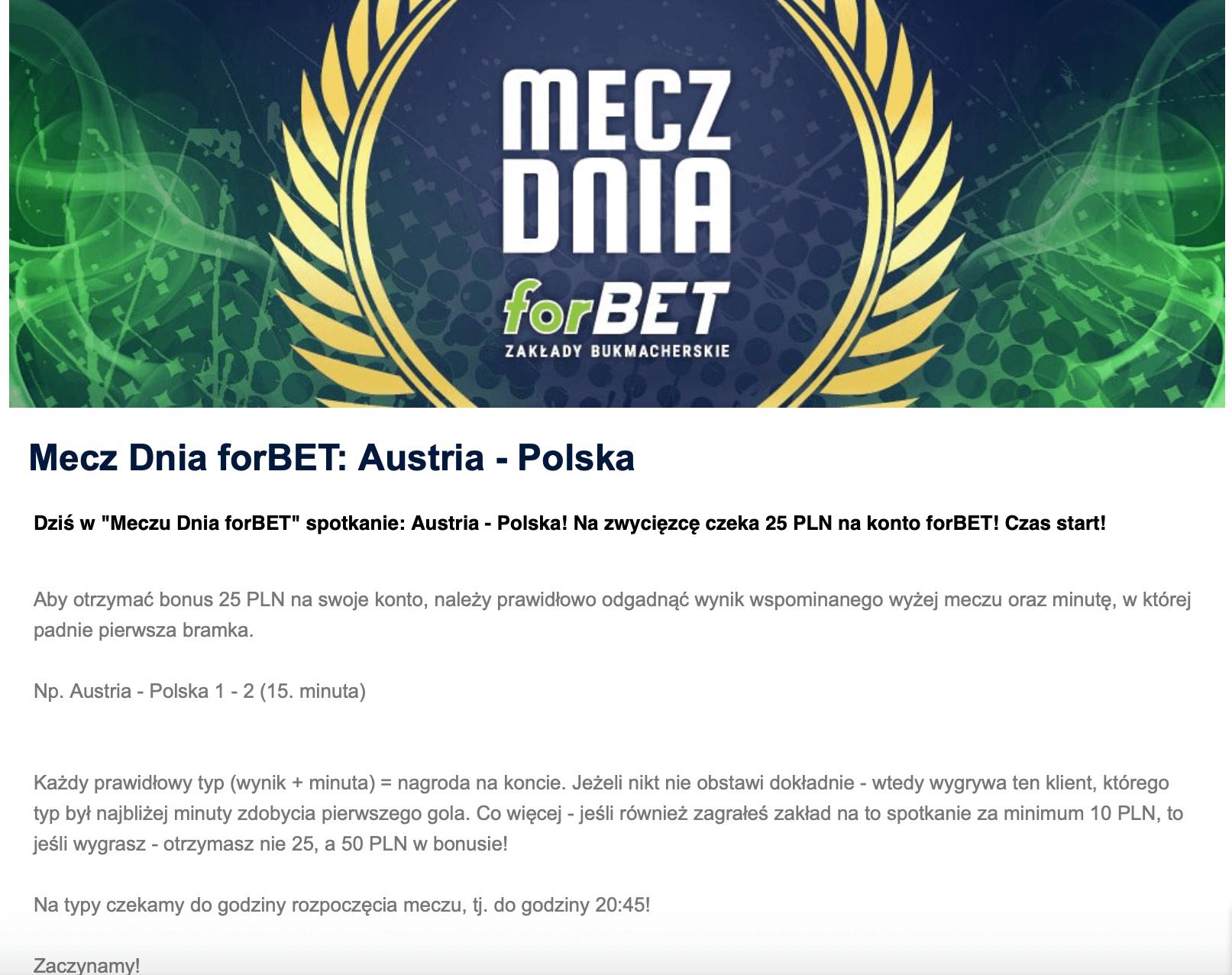 mecz dnia forbet polska austria