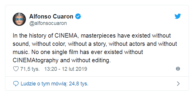 Komentarz Alfonso Cuarona - Oscary 2019