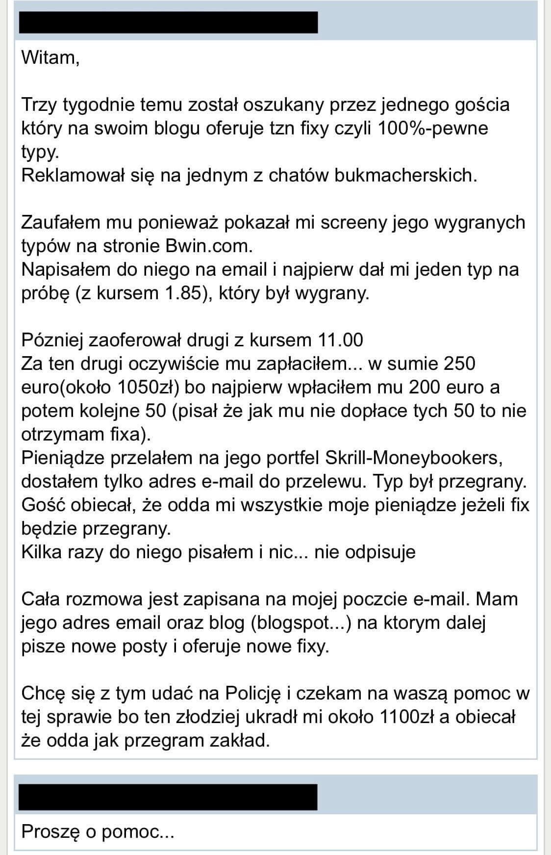 Oszukany gracz zakładów bukmacherskich - skarga