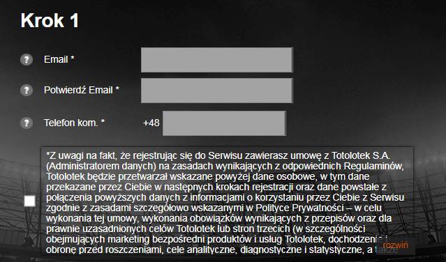 Totolotek - rejestracja